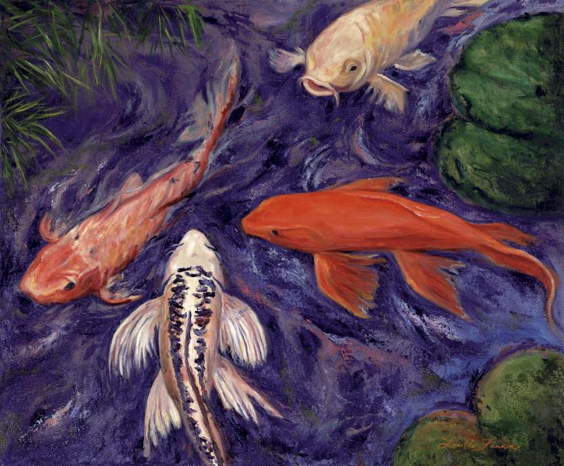 Legacy paintings by lucille pet portraits animals for Koi pond labradors